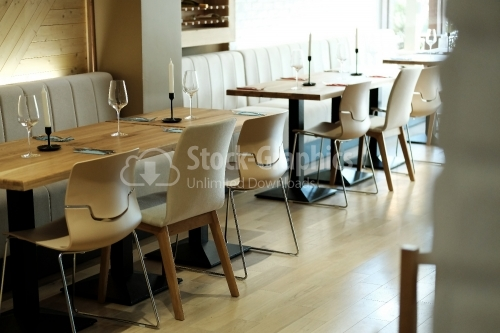 Modern restaurant. Furniture. Arranged table.