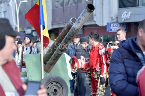 Old army cannon brought to the winter festival. Authentic traditional from Romania