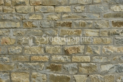 Old big stone wall textured background with green and yellow mol