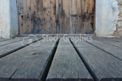 Old wood background with blurred door