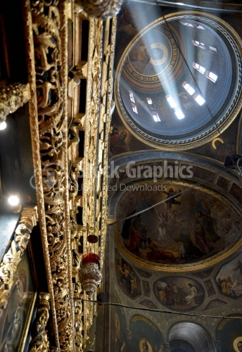 Orthodox church in Romania. The interiors of the cathedral