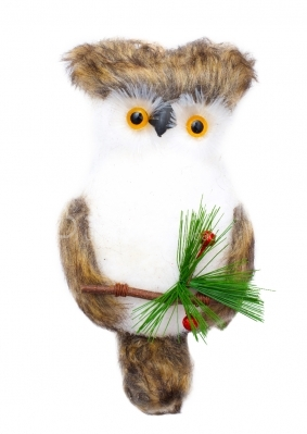 Owl doll on white background