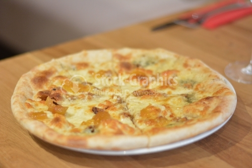 Pizza quattro formaggi with four kinds of cheese. Template for your design and menu of restaurant.