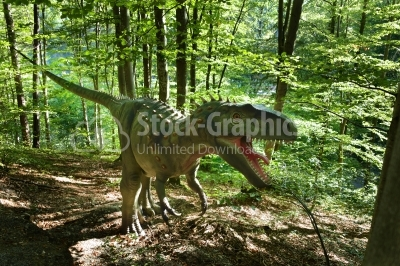 Plastic Model of a dinosaur in Dino Parc in Rasnov, Romania
