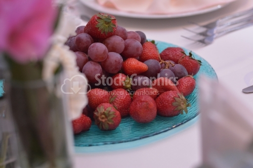 Platter with grapes and strawberries