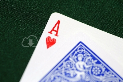 Playing cards - isolated on green background