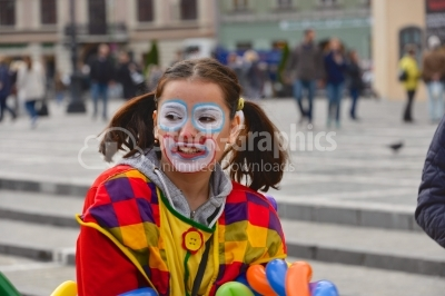 Portrait of clown with makeup