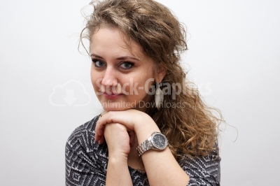 Portrait pretty elegant thoughtful young woman girl curly hair t
