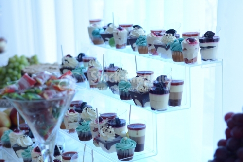 Pudding of different flavors combined with muffin, placed on a transparent support