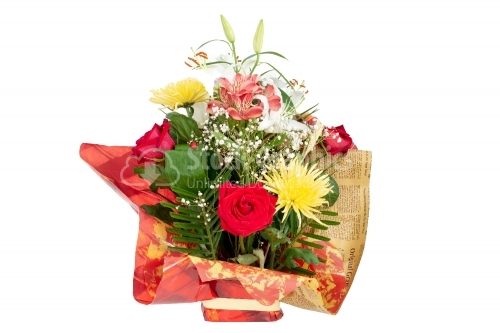 Red basket with flowers