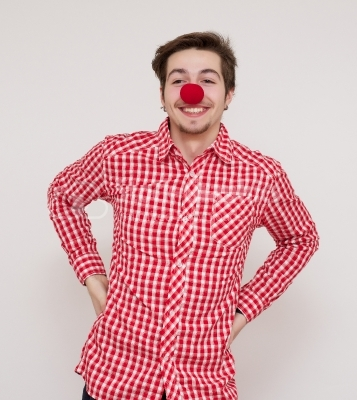 red nose on a white guy