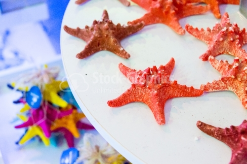 Red sea stars standing on a table