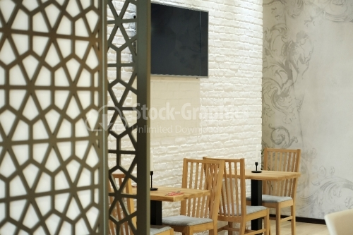 Restaurant decor. Furniture. Wallpaper. The cheerful corner.
