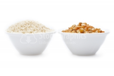 Rice and corn isolated on white