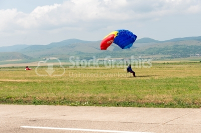 Romanian skydiver reaching the landing area