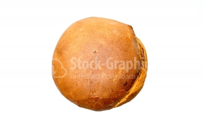 Round bread isolated over the white background