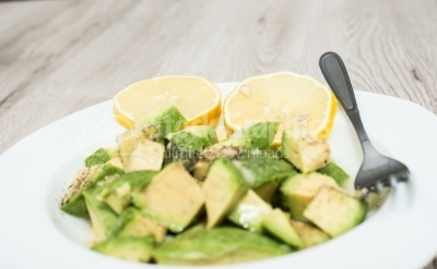 Salad with large pieces of avocados