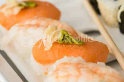Salmon sushi with wasabi