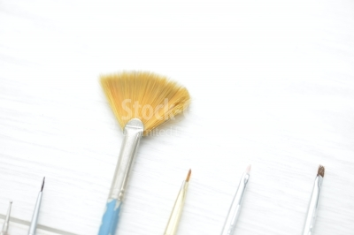 Set of Professional makeup brushes, isolated on white macro