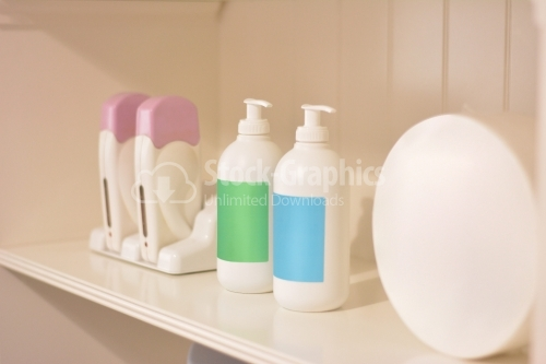 Shelf in a beauty salon.