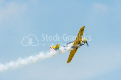 Sideways low-angle yellow propeller