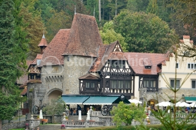 Sinaia Prahova Transylvania Romania. Clock tower and entrance ga