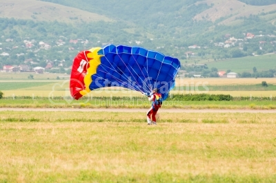 Skydiver reaches the land