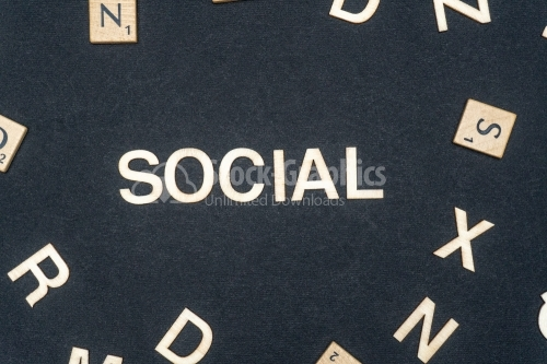 SOCIAL word written on dark paper background. SOCIAL text for your concepts