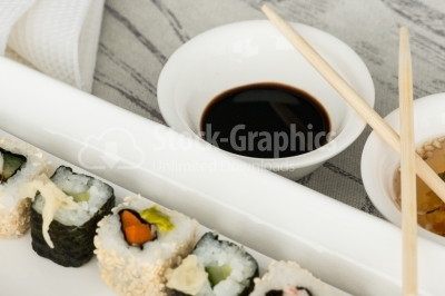 Soy souce with wood chopstick