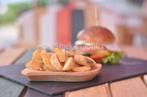 Spicy wedges potato with beef burger