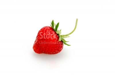 Strawberry centered on white background