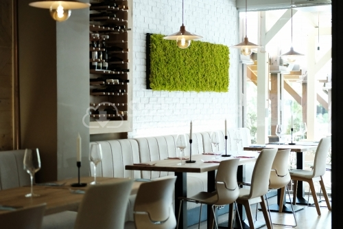 Stylish interior of restaurant.