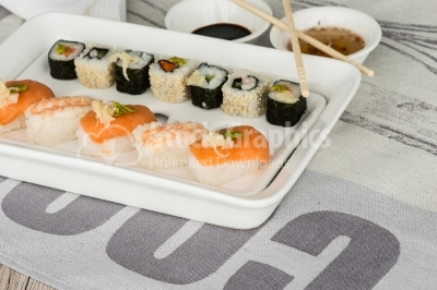 Sushi mix with sauce