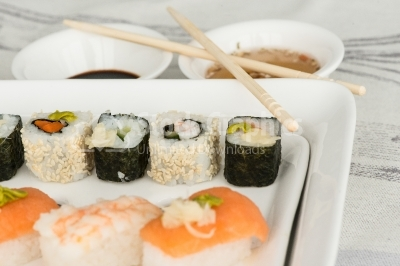 Sushi on white dish