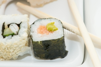 Sushi roll with wasabi souce
