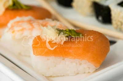 Sushi with salmon close up