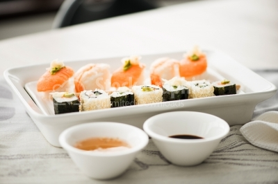 Sushi with two sauces