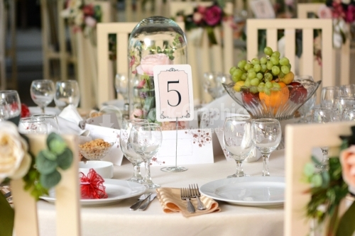 Table with lots of details made for a wedding fest