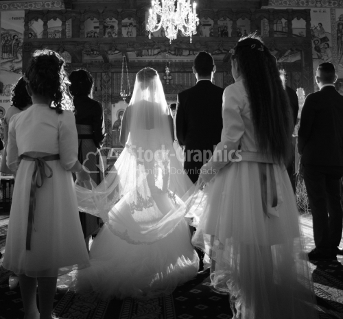 The bride and groom's ceremony in the Christian church. Black and white photography.