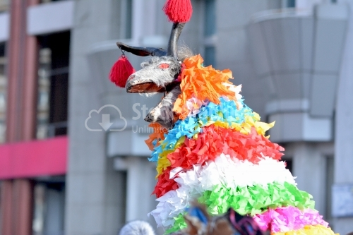 The goat made of textile materials and paper.Winter traditions and Custom festival of Romania