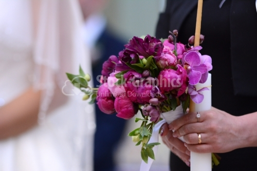 The godmother's bouquet. Bouquet with predominantly pink flowers.