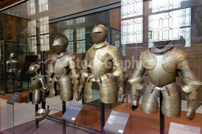 Three armors from Museum of the Army, Les Invalides, Paris, Fran