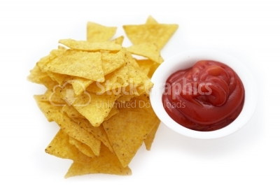 Tortilla chips with ketchup