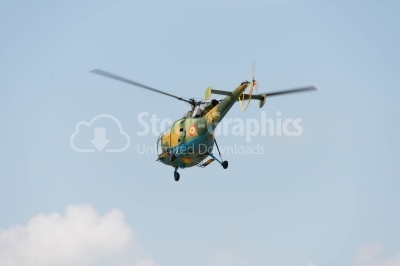 Transport helicopter flying
