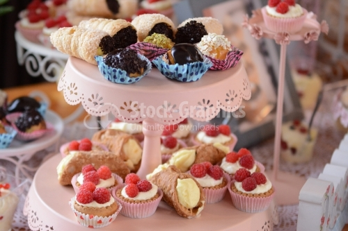 Variety of cakes: vanilla rolls, mini chocolate eclairs, mini tarts with whipped cream and raspberries