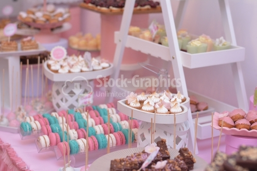 Various and colorful cakes; macarons, meringue, fondant