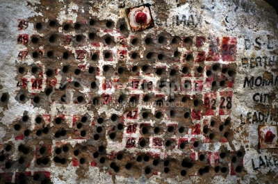 Wall with bullet holes