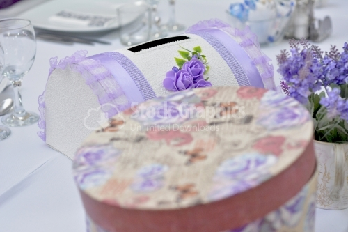 Wedding decorative box with roses and purple lace, chest for gifts and money