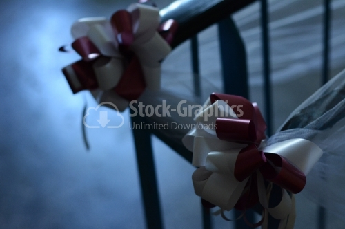 White and rose bows on chair
