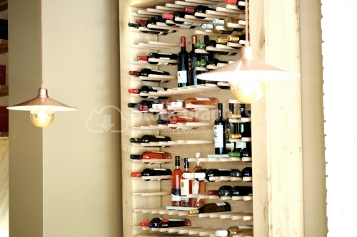 Wine bottle cabinet. Restaurant. Wine cellar.